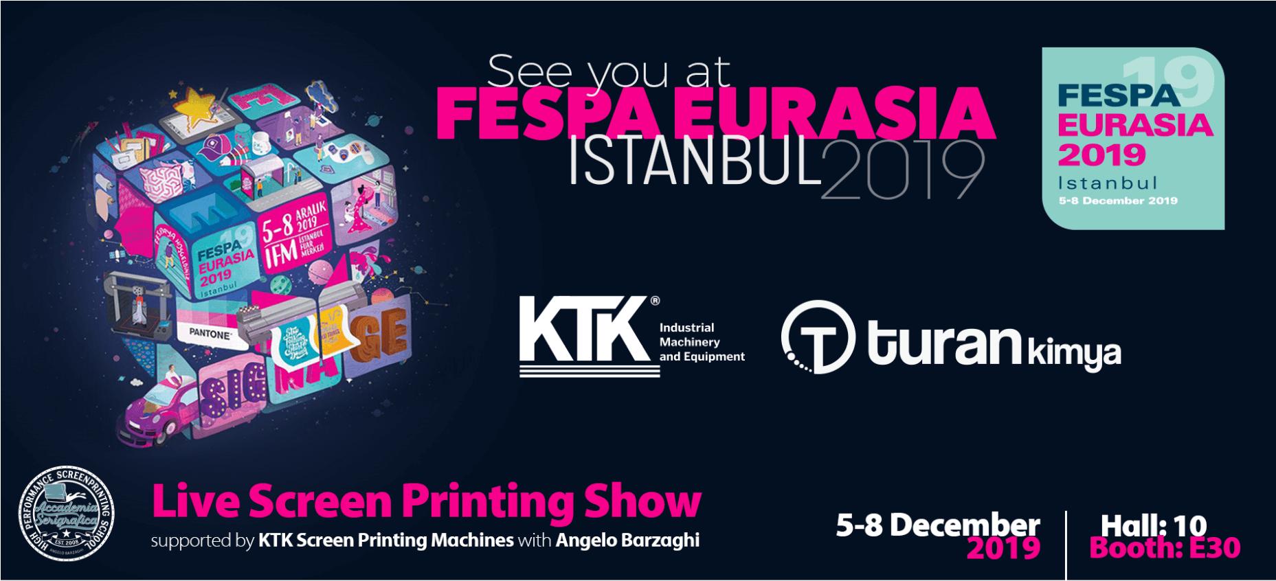 A KTK e a Turan Kimya estão a chegar à FESPA Eurasia!